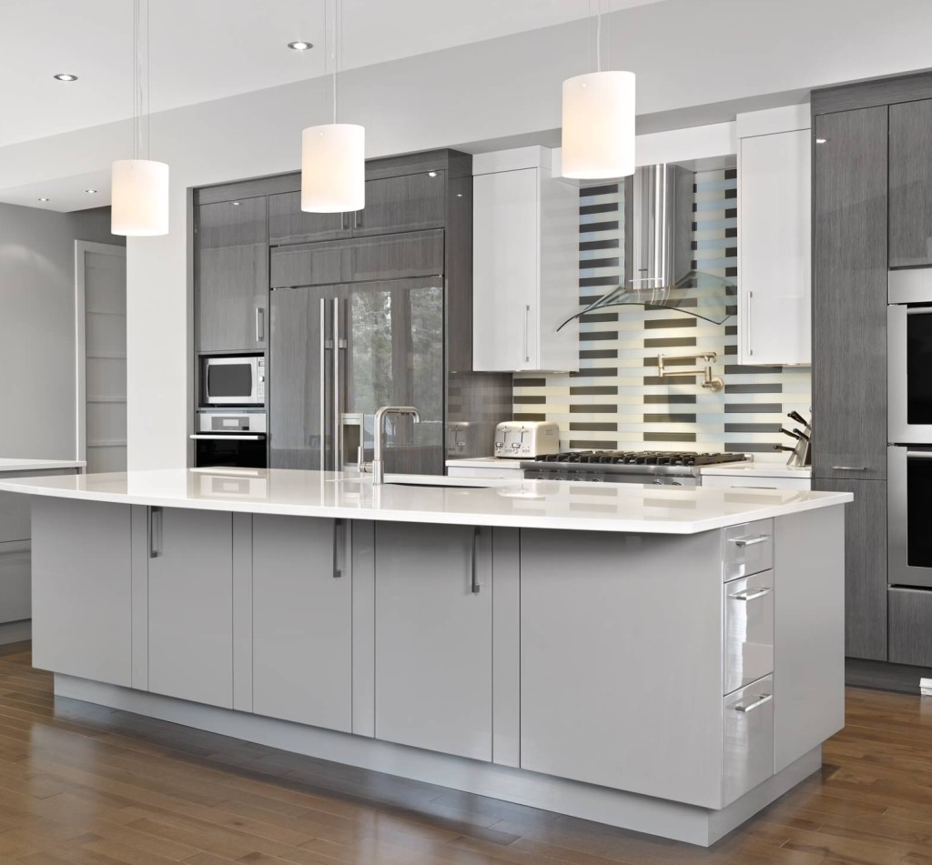 Painting Kitchen Cabinets Grey With White Appliances: Dekorasyonda Gri